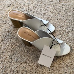 Who What Wear White Heeled Slides